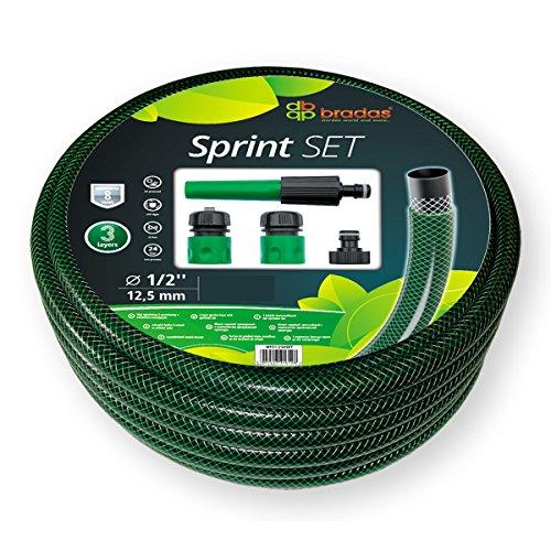 Bradas – Set : Tuyau d'arrosage 20 m Tuyau d'eau 1/2-5 pièces avec pulvérisation Sprint Set