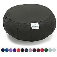 Cojín Zafu »Moogli« / Cojín clásico para yoga y meditación, cojín de yoga / 100% algodón / 35 cm x 15 cm / disponible en una gran variedad de magníficos colores / Gris