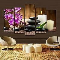 H.COZY immagine Candela fiore di pietra 5 pannelli viola Quadro Quadri decorativa (Senza telaio) Senza cornice far44 50 Pollici x30 Pollici