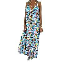 GAGA فستان نسائي طويل لعطلة الشاطئ فستان شمس بوهو العميق الخامس الرقبة ازرق فاتح X-Small