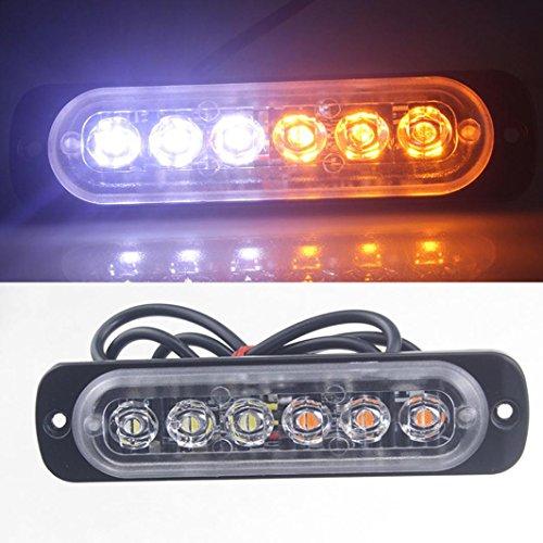 Blanc + Ambre 18/LED Lumi/ère stroboscopique avec ventouses S/écurit/é de voiture Truck lumi/ère clignotant Signal lampe