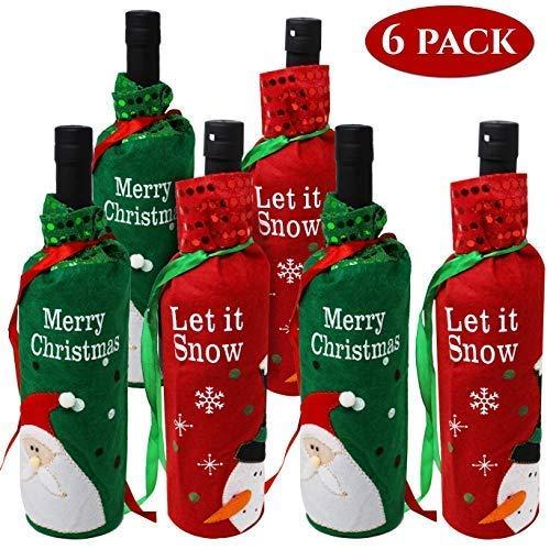 Moji Set di 6 Sacchetti per Bottiglie di Vino con Design Assortiti Perfetti per Regali di Natale e Altro