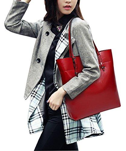 PB-SOAR Damen Shopper Handtasche Henkeltasche Schultertasche aus PU Leder 30x35x11cm (B x H x T) (Weinrot) Weinrot