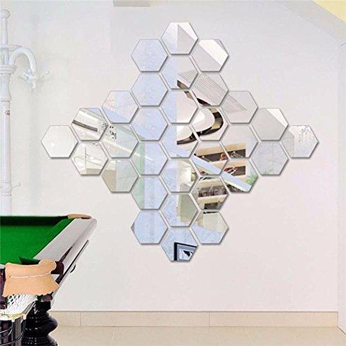 OMDOXS Spiegelfliesen 12 Stück Sechskant Acryl Wandaufkleber Wand Dekor Selbstklebend Hexagon Spiegel Wandspiegel zum Wanddekoration