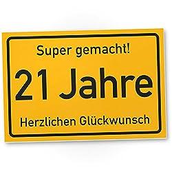 DankeDir! 21 Jahre Stadtschild/Kunststoff Schild - Geschenk 21. Geburtstag, Geschenkidee Geburtstagsgeschenk Einundzwanzig, Geburtstagsdeko/Partydeko/Party Zubehör/Geburtstagskarte