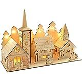 WeRChristmas - Decorazione natalizia in legno intagliato, chiesa del villaggio, con illuminazione a LED, 12 luci bianco caldo, 35 cm
