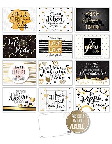 12 Spruchkarten - 12 lustige Sprüche, Postkarten, Serie Gold mit Veredelung 14,8 x 10,5 cm