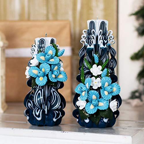 Mother Day Kerzengeschenk Marineblau geschnitzte Kerze mit hellblauen Iris - einzigartige Dekoration und Weihnachtsgeschenke