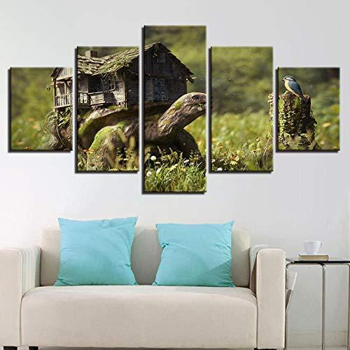Chuixiaoxiao1 Leinwand malerei Wandkunst Rahmen 5 Stücke Turtle Moss House Und Vogel Poster HD Drucke Gras Blumen Natürliche Bilder Wohnkultur -