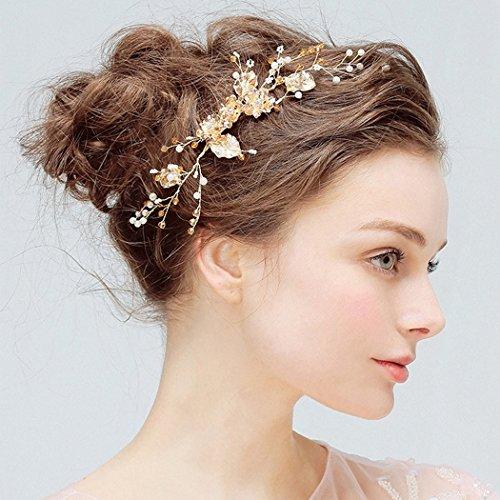 Aukmla: Hochzeit-Haarkamm mit Blumen, Haarschmuck für Braut und Brautjungfer