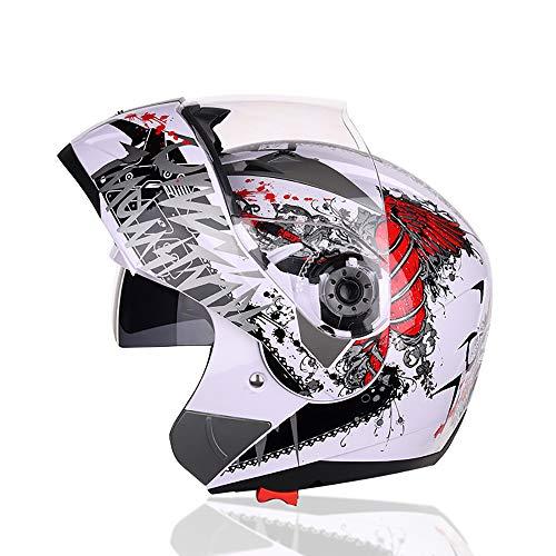 PQ&D Erwachsener MX-Offroad-Helm, ATV-Offroad-Motorradhelm Double Sports Flip mit Sun Visor Mountain Helm - DOT-Zertifizierung,XL