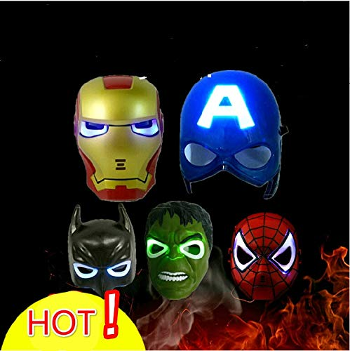 WSJDE 5 Teile/los led leuchtende superheld Maske für Kid & Adult Avengers Marvel Captain America Spiderman Hulk Iron Man Batman Partei Maske (Junge Monster High Kostüm)