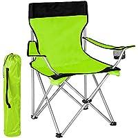 TecTake® Campingstuhl Anglersessel grün/schwarz wasserabweisend mit Getränkehalter inkl. Tragetasche Regiestuhl