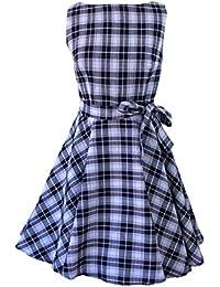 ea077e7bd446 Milk Moon Vintage - Vestito - A Quadri - Senza Maniche - Donna