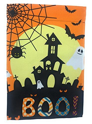Halloween Garten Flagge Haunted House, Geister, Fledermäuse A Full Moon; True Doppelseitig Boo Botschaft lesbar Beiden Seiten; 30,5cm 45,7cm ()