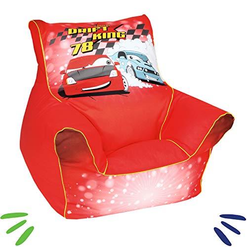 DELSIT Kindersitzsack Kinder Sitzsack Spielzimmer Kindermöbel für Jungen DRIFT KING Rot