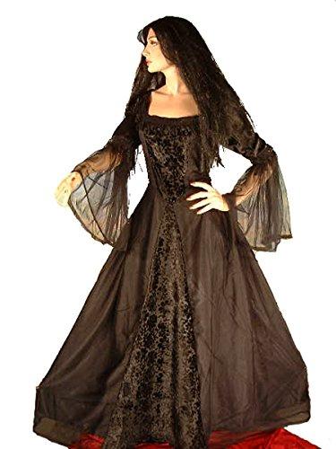 Dark Dreams Gothic Mittelalter LARP Kleid Nebula, Farbe:schwarz, (Empire Larp Kostüm)