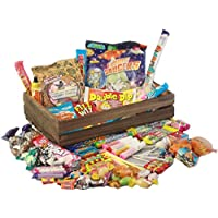 Beautiful Wooden Crate of Retro Sweets - Dark Wood - Over 60 of your Favourite Childhood Sweets!