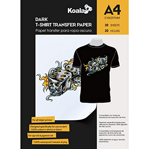 KOALA A getto d'inchiostro Carta di trasferimento per il ferro sulla scuro magliette, 20 fogli, A4