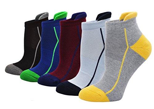 ZAKASA Herren 5-Pack Athletic No Show Socken Gepolsterte Comfort W Mesh EU Schuhgröße 39-44 (Gepolsterte Socken No-show)