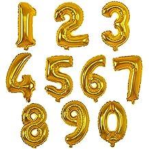 Da.Wa 10pcs Globos de Papel de Aluminio 0-9 Números Globos Digital Nupcial Partido de los Ornamentos de la Boda de Cumpleaños