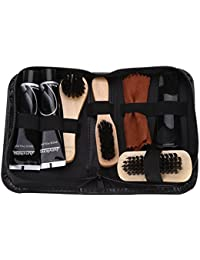 Fdit Shoe Shine Care Kit Black and Neutral Polish Brushes Shoes Polisher Care Tools for Boots Shoes Sneakers 8pcs A Set