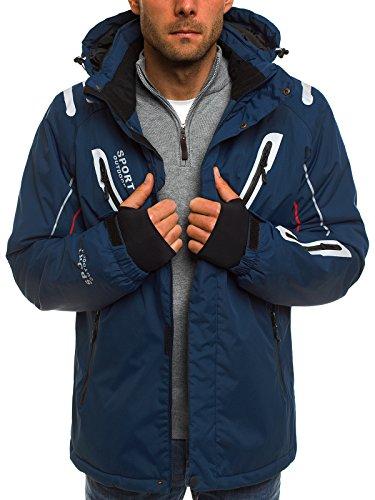OZONEE Herren Winterjacke Skijacke Parka Windjacke Jacke Kapuzenjacke Wärmejacke Wintermantel Coat RED FIREBALL F802 DUNKELBLAU L