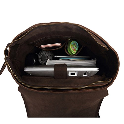 Herrenaktenkoffer -Rucksack Vintage-Leder-Kurier-Laptop-Tasche Handtasche (Schwarz) Schwarz