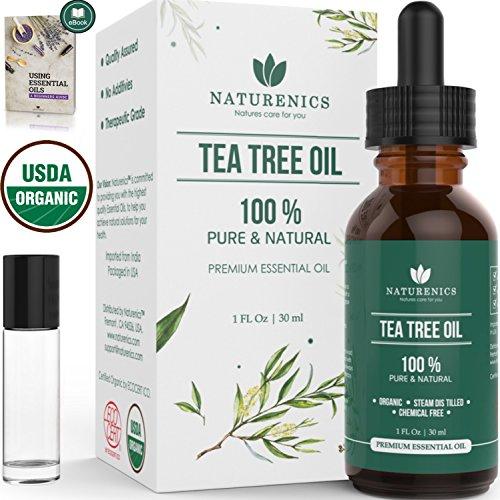 Naturenics tea tree olio essenziale 100% usda organic melaleuca alternifolia terapeutico grade soluzione nature per acne, pidocchi, fungo dell'unghia del piede, capelli, del viso, nail rafforzare ebook - 1 fl oz