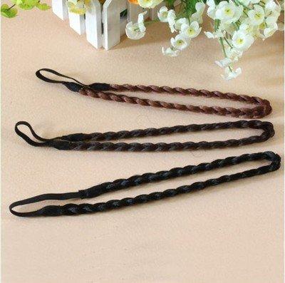 EQLEF® 3 Pieces Black Dark Coffee And Light Coffee Synthetic Headband Plaited Braid Hair Band Hair Piece Women Beauty accessory