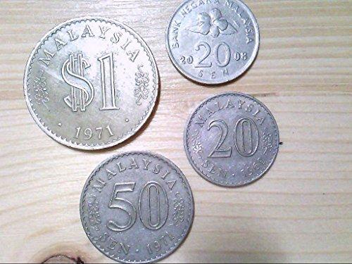 Malaysia, 4 Münzen, 1 Dollar, 1 x 50 Sen, 2 x 20 Sen, Kursumlaufmünzen. -