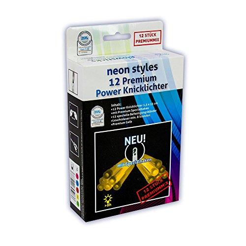 12 Premium Power-Knicklichter KNIXS - Gelb - inkl. Spezialhaken und Befestigungsband, robust, dick, intensiv & lange leuchtend