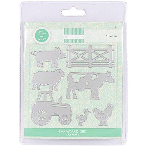 First Edition-Confezione di fustelle a forma di animali della fattoria, in metallo, colore: grigio