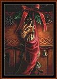 CHRISTMAS DRAGON - Cross Stitch Chart / Pattern [ PDF on a CD ]