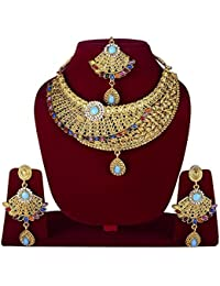 Unique Designed Necklace Set With Earrings & Maang Tikka For Women Girls