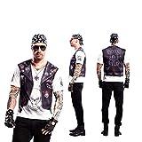 Yijja Fast Fun - Hellboy, camiseta de manga corta para adultos, 2 piezas tatuaje, talla S (Charm Kingdom YJ00020)