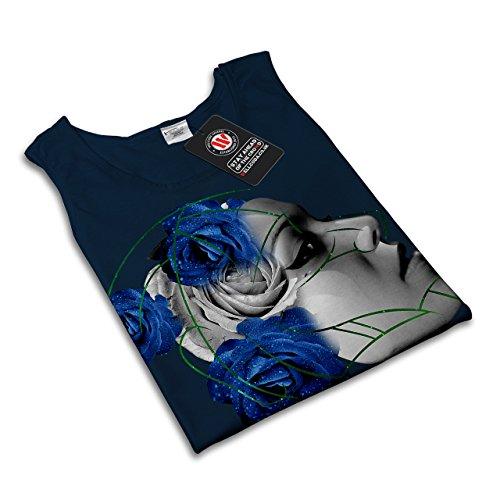 Gesicht Blau Rose Fantasie Roboter Mädchen Damen Schwarz S-2XL Muskelshirt    Wellcoda Marine ...