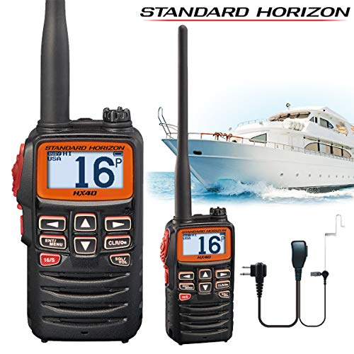 Standard Horizon HX-40E Ultrakompaktes Marine-Radio mit FM Broadcast-Empfänger + Comteclogic® CM-50PT Sicherheits-Headset - Ultra Compact Vhf Marine Radio