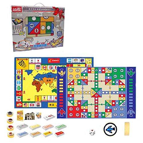 Kinder Schach Brettspiele Familienspiele Kinder Schach Spielzeug entwickeln Gehirn, Doppelseitige 158x98 Boxed Flying Decke + Die Reichen