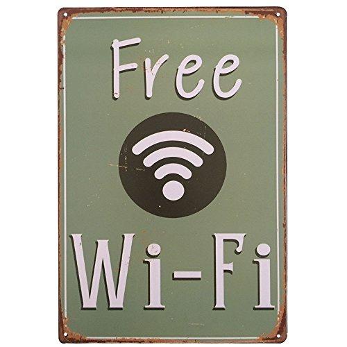 Ipekoo libre WiFi Metal Sign Placa metálica, Pub Metal placa metálica de pared Póster de Metal envejecido Retro Vintage