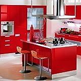 1er Top mueble de cocina de calidad engomada del PVC auto rollos de papel pintado adhesivo para Muebles / Cocina / Baño 0.61 * 5M pegatinas hoja de guarnición / Papel de pared del gabinete de la puerta, Rojo
