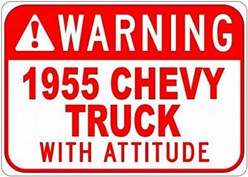 WallAdorn 1955 55 Chevy Truck Warning with Attitude s Eisen Poster Malerei Blechschild Vintage Wall Decor für Cafe Bar Pub Home (Chevy Truck Lichter)