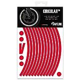 VFLUO CircularTM, Kit de Cintas, Rayas Retro Reflectantes para Llantas de Moto (1 Rueda), 3M TechnologyTM, Anchura XL : 10 mm, Rojo