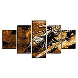 GTRB 5 Bilder auf Leinwand, 5 Teile, Punk, Eye, Wand, Kunst, Foto, Dekoration, Wohnzimmer, Kunstdruck auf Leinwand, 20 x 35 cm x 2 x 20 x 45 cm x 2 x 20 x 55 cm x 1, Size1