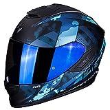 Casco integral Scorpion EXO-1400 sylex negro mate azul de fibra de carbono para scooter moto con visera interna SpeedView solar retráctil protección calota exterior TCT L