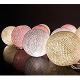 Barato Precio 20/Set Bola de Algodón Luz de la Secuencia de Color Blanco Crema Rosa Exterior / Interiro / Fiesta / Boda / Cumpleaños Christmas Curtain