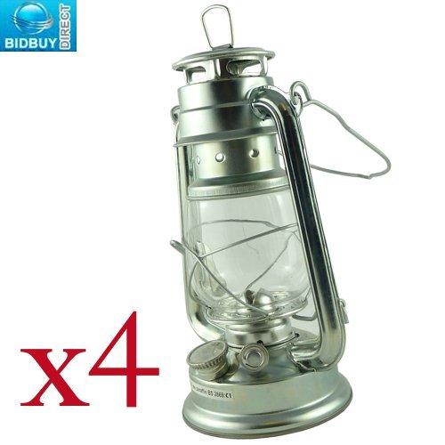 Lampe tempête traditionnelle argentée de 25,4 cm, avec cadre en verre coupe-vent - Solution durable pour les cas d'urgence - Fonctionne à l'huile de paraffine, au kérosène ou au lampant sans fumée 4 HURRICANE LAMPS Silver