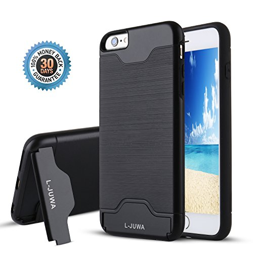 iPhone 6/6s Case, L-JUWA [Card Slot Holder][KickStand] Shockproof Slim Fit Dual Layer Hybrid Protection Case Cover for Apple iPhone 6/6s (Black)