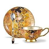 Panbado 200 ml Kaffeetasse mit Unterteller und Löffel, 3 teilig Kaffee Set aus Fine Bone China Porzellan