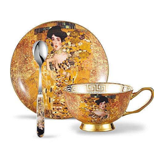 Panbado Tasses à Thé Service à Café 200ml avec Soucoupe Cuillère en Porcelaine Fine Motif Portrait d'Adele Bloch-Bauer I Art Peinture de Climt (1 Set Tasse à Thé Sans Porte-tasse)